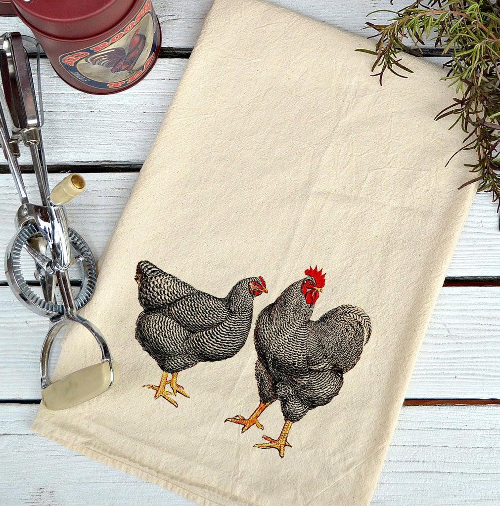 Farmhouse Natural Flour Sack Chickens Black and White Country Kitchen Towel