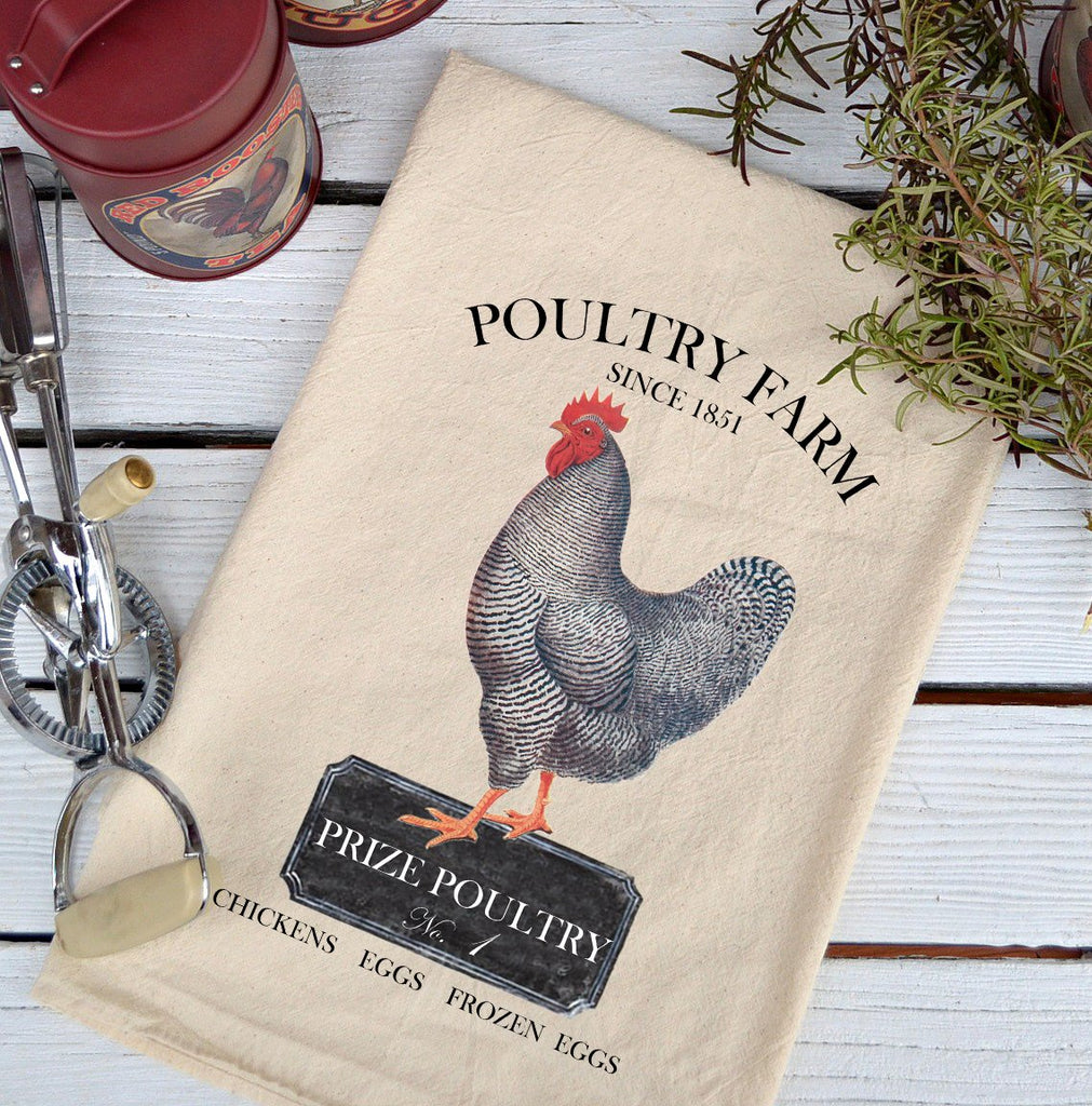 Farmhouse Natural Flour Sack Chickens Prize Poultry Farm Country Kitchen Towel