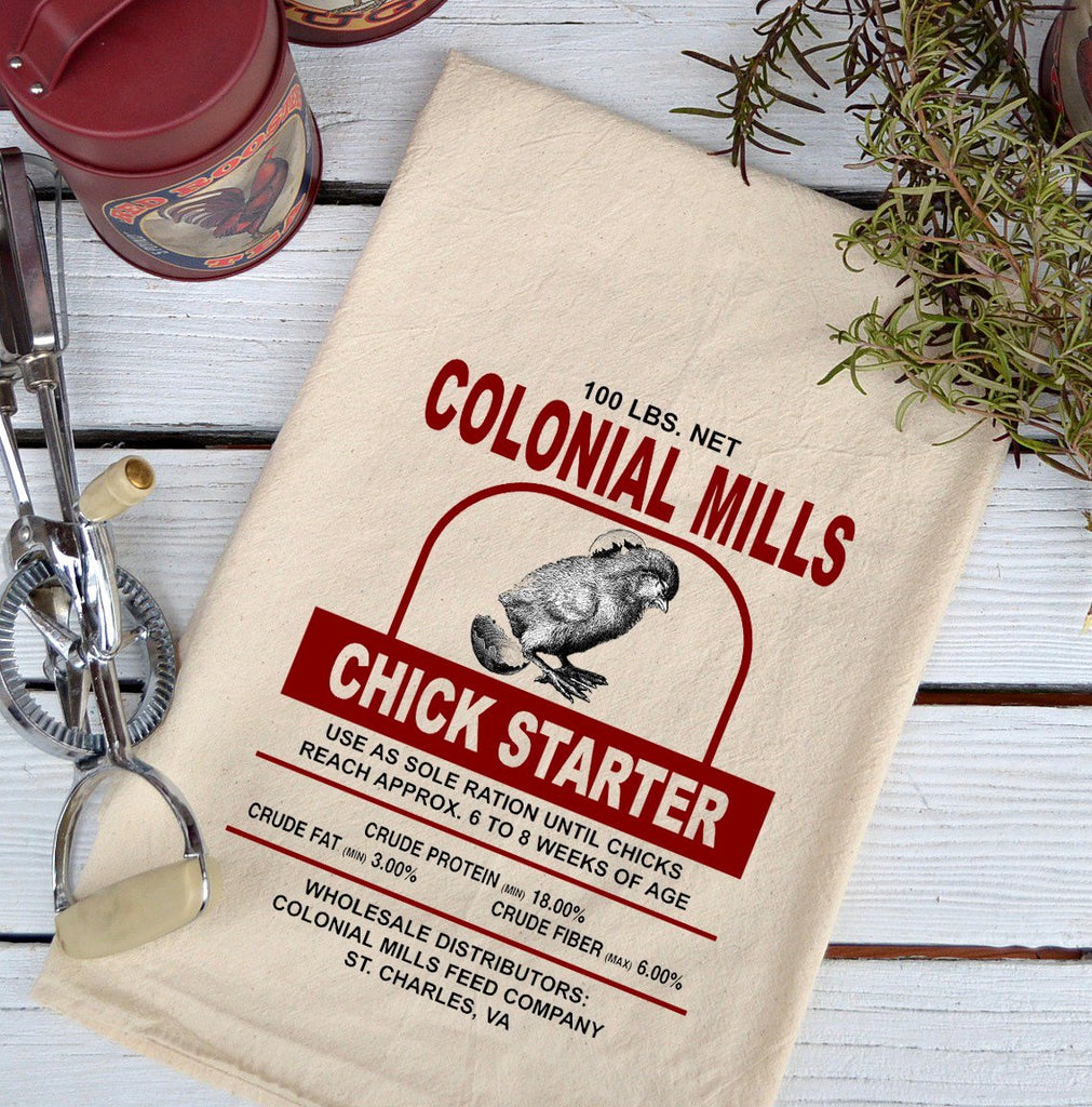 Farmhouse Natural Flour Sack Colonial Mills Chick Starter Country Kitchen Towel