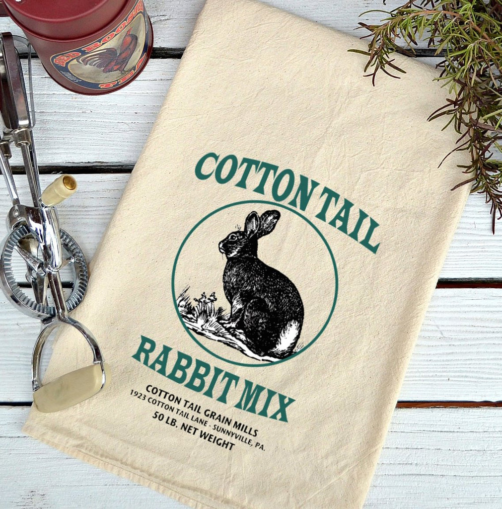 Farmhouse Natural Flour Sack Cottontail Rabbit Feed Country Kitchen Towel