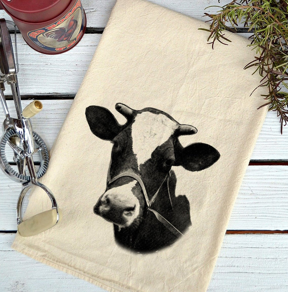 Farmhouse Natural Flour Sack Cow Holstein Country Kitchen Towel