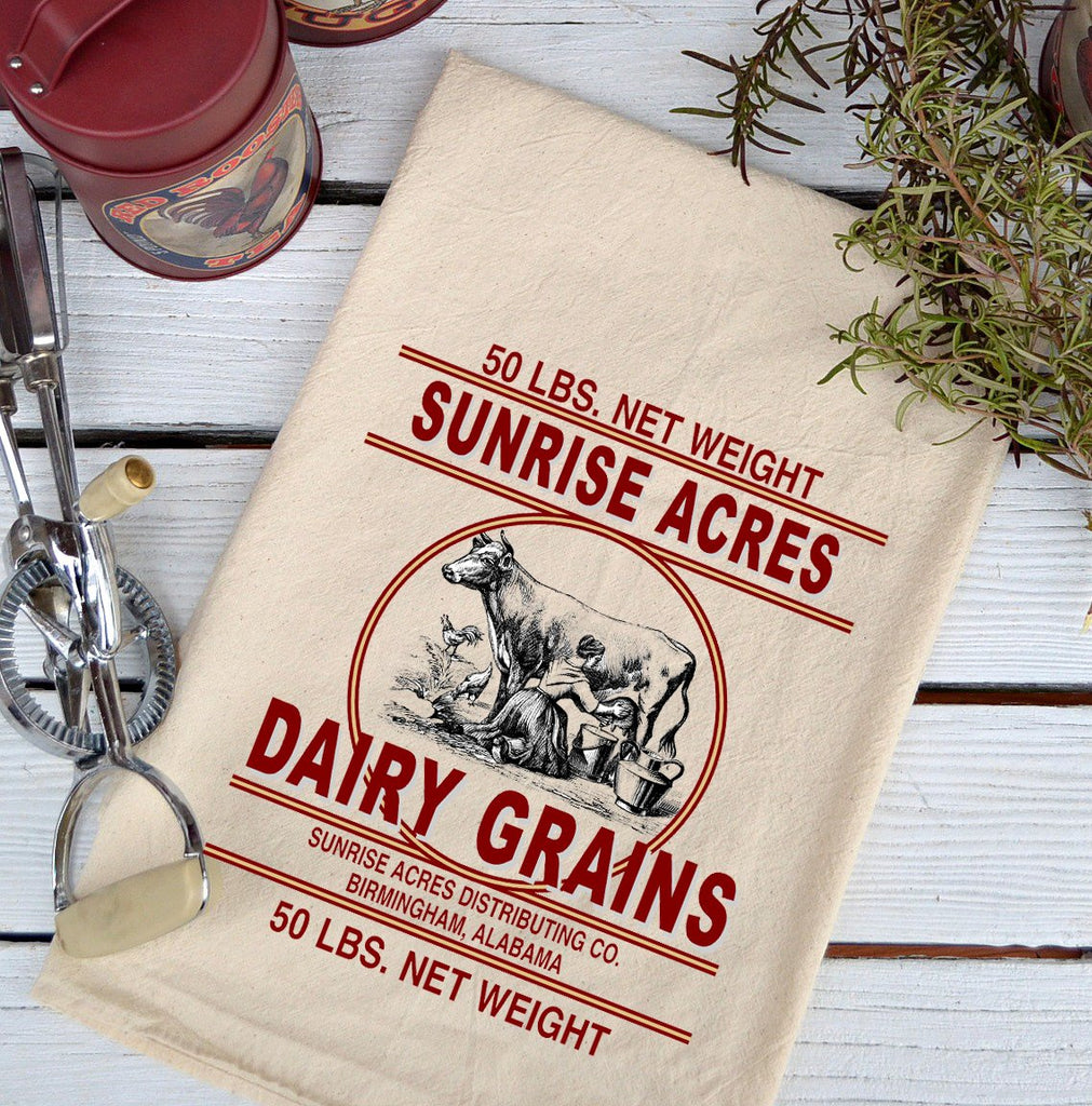 Farmhouse Natural Flour Sack Cow Sunrise Acres Dairy Country Kitchen Towel