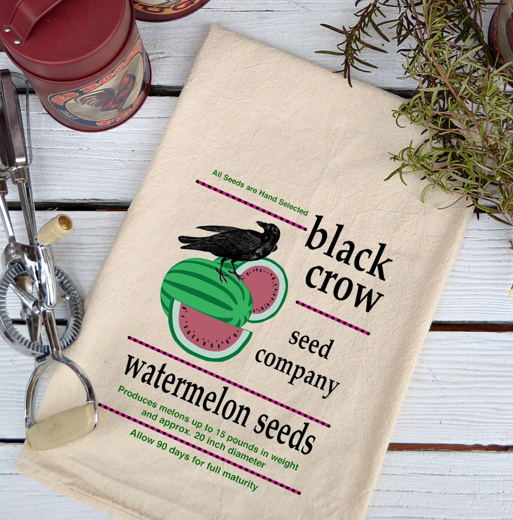Farmhouse Natural Flour Sack Crow Black Crow Watermelon Seeds Country Kitchen Towel