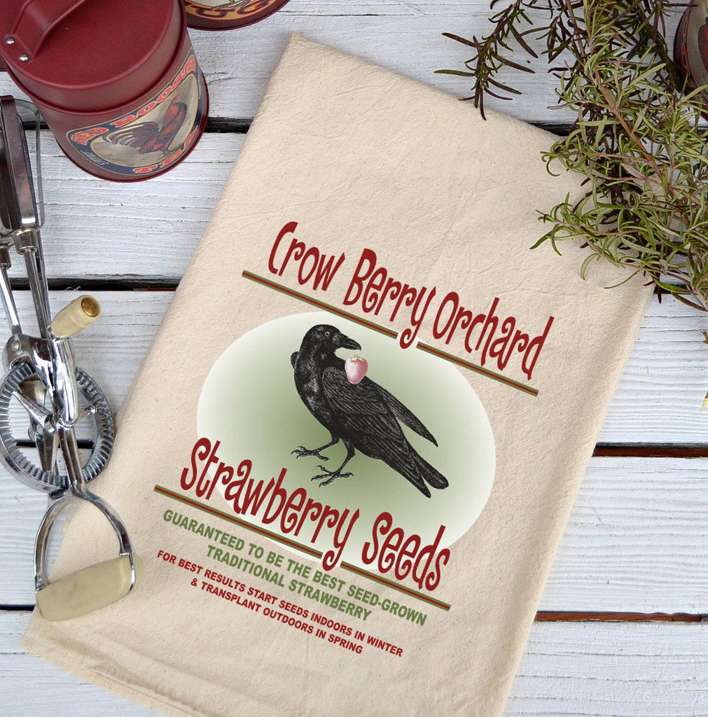 Farmhouse Natural Flour Sack Crow Berry Orchard Country Kitchen Towel