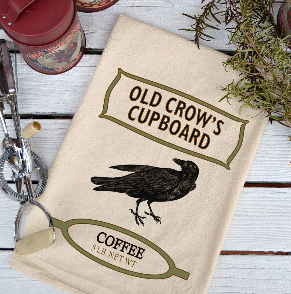 Farmhouse Natural Flour Sack Crow Old Crow's Cupboard Coffee Country Kitchen Towel