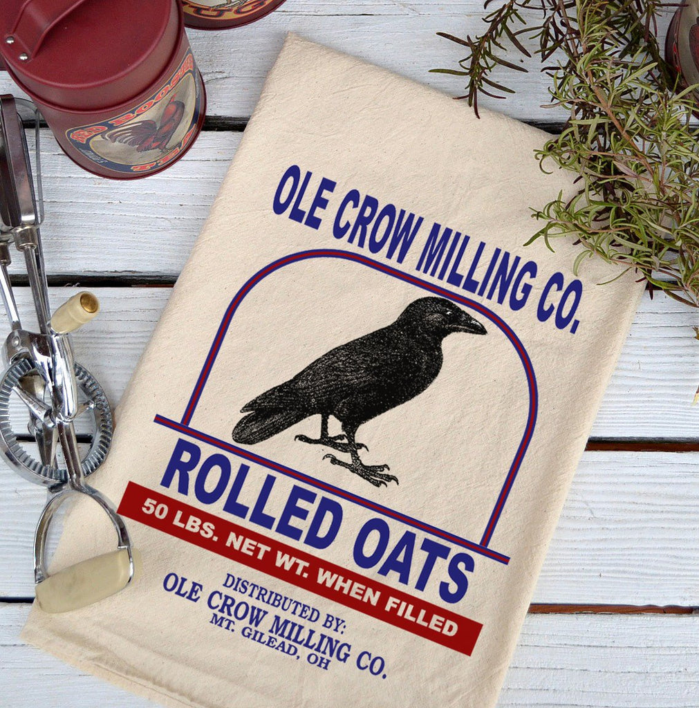 Farmhouse Natural Flour Sack Crow Ole Crow Milling Oats Country Kitchen Towel