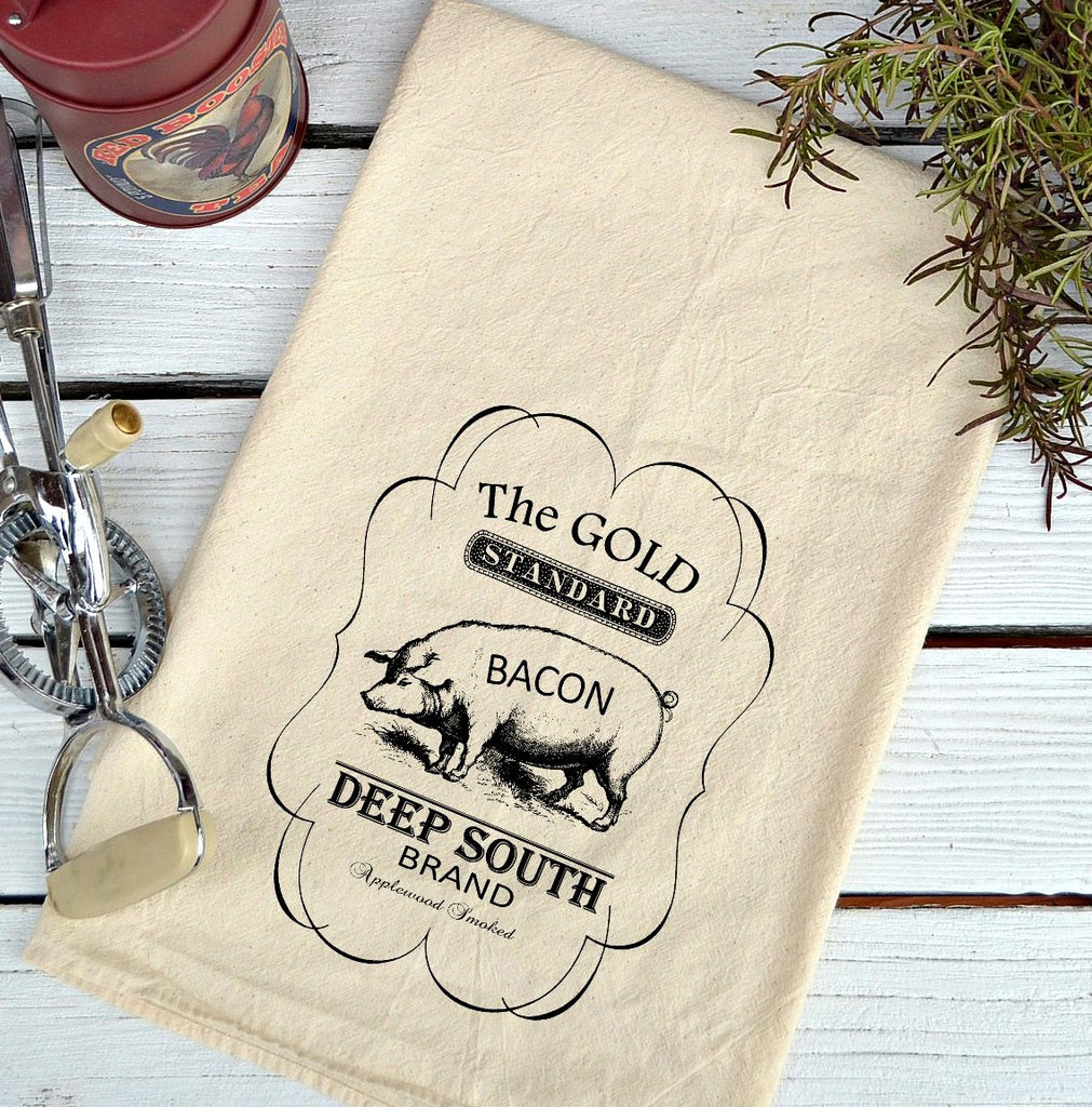 Farmhouse Natural Flour Sack Deep South Bacon Country Kitchen Towel