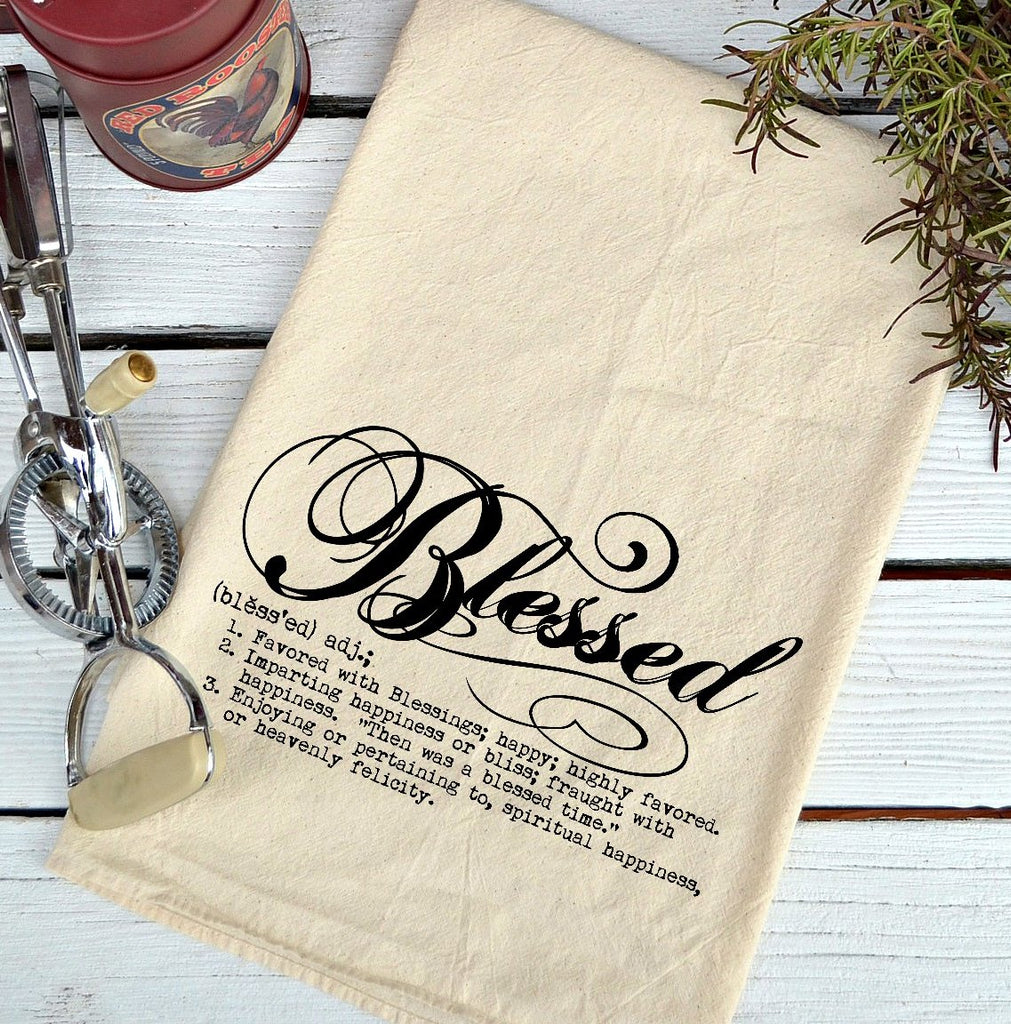 Farmhouse Natural Flour Sack Definition Blessed Script Country Kitchen Towel