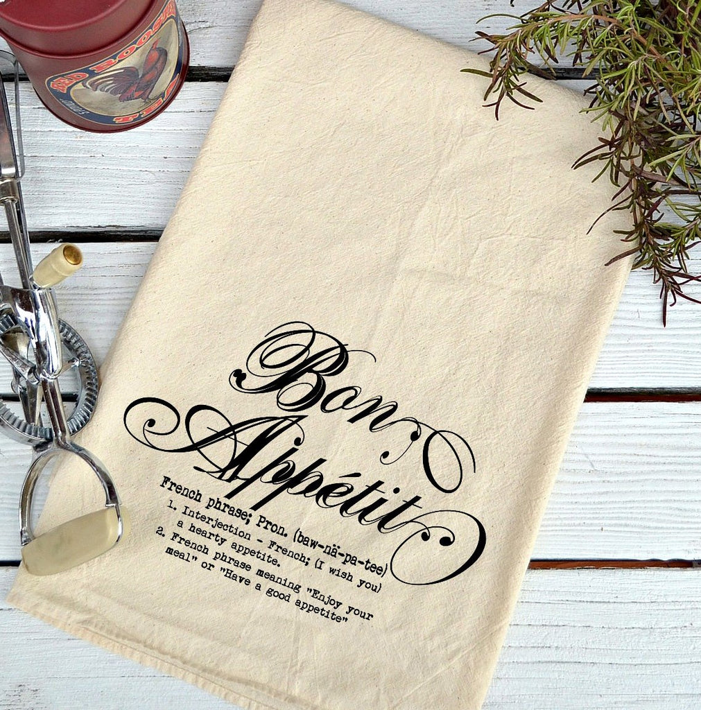 Farmhouse Natural Flour Sack Definition Bon Appetit Script Country Kitchen Towel
