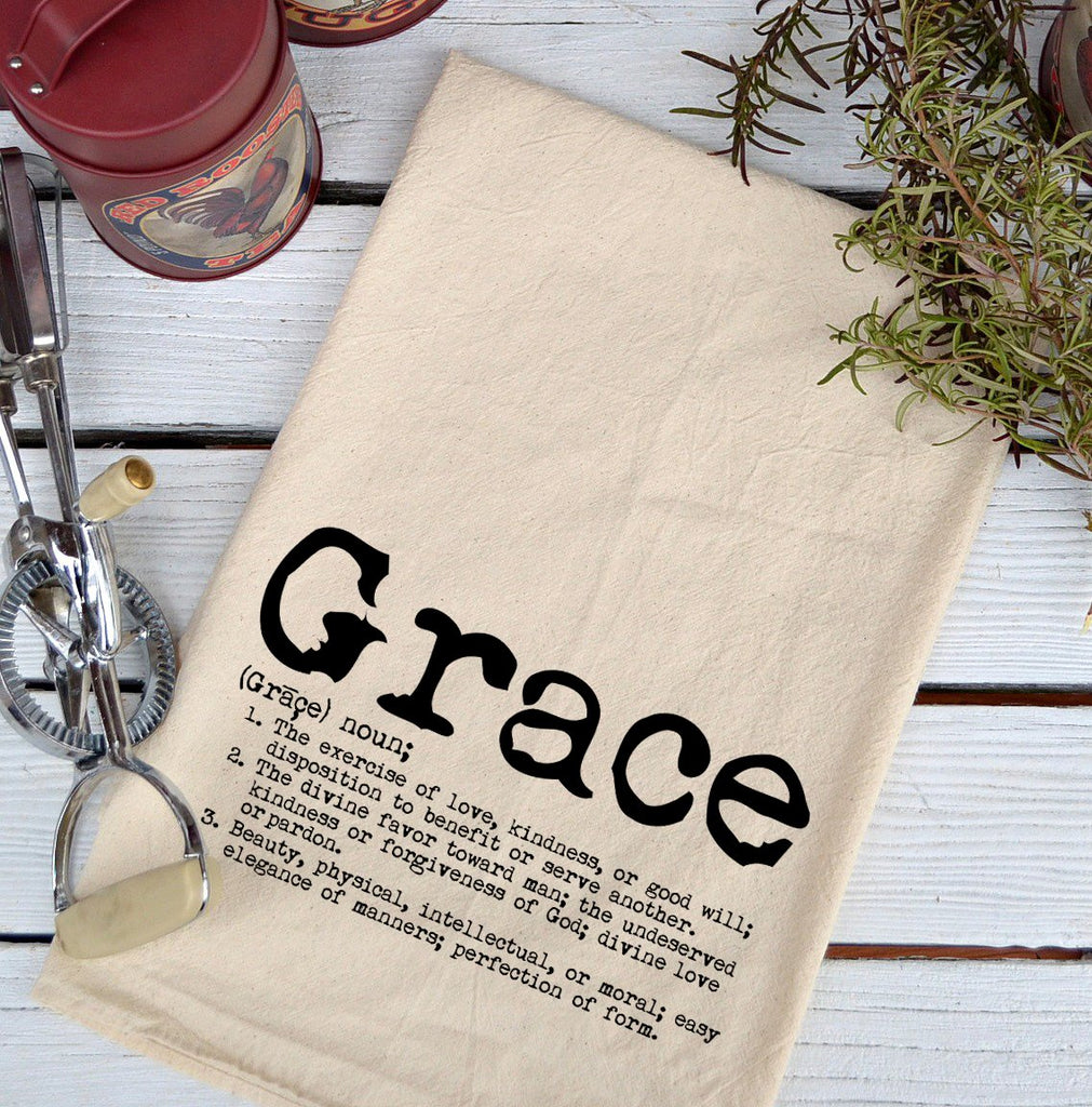 Farmhouse Natural Flour Sack Defintion Grace Typefont Country Kitchen Towel