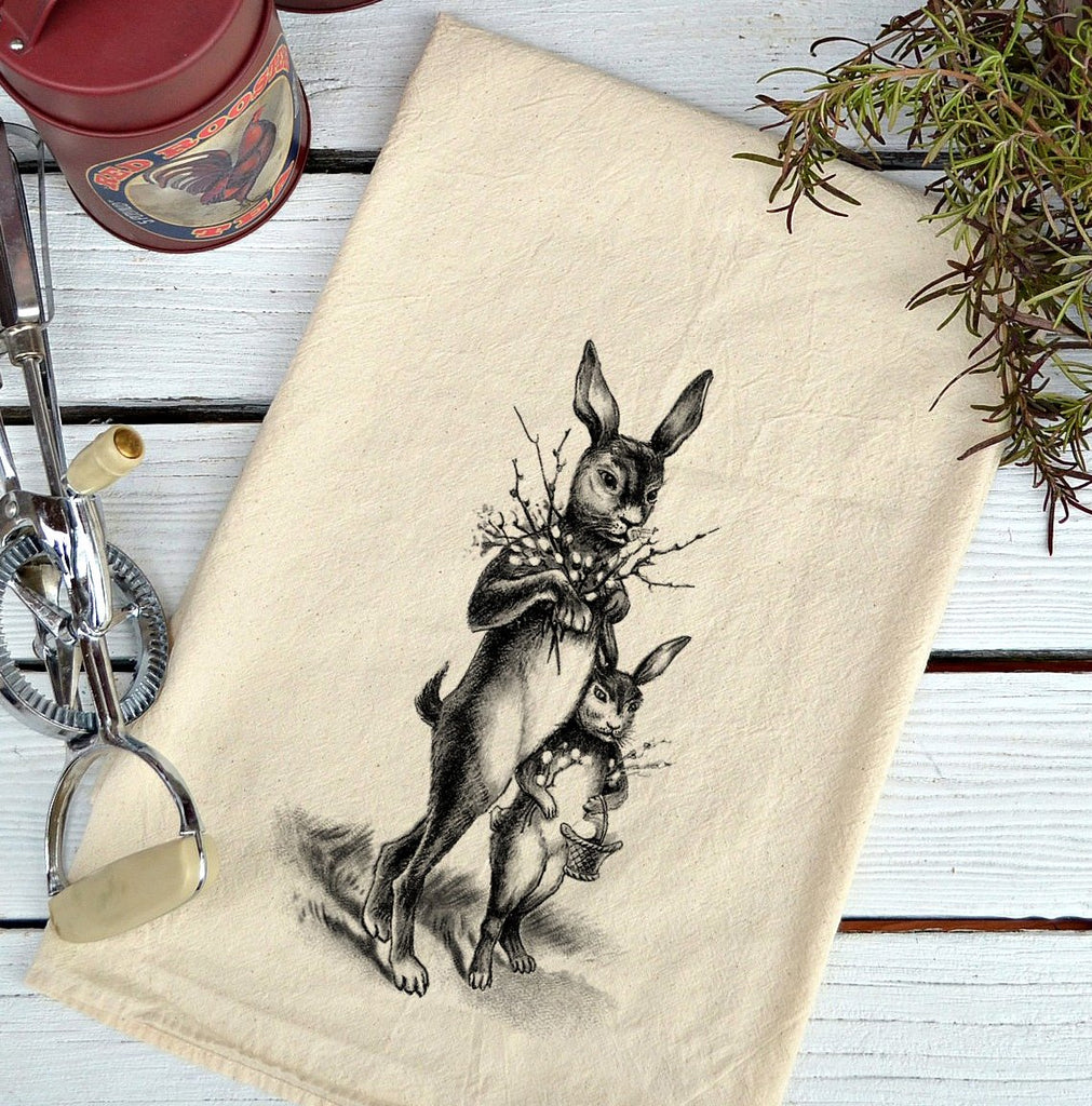 Farmhouse Natural Flour Sack Easter Rabbits Country Kitchen Towel