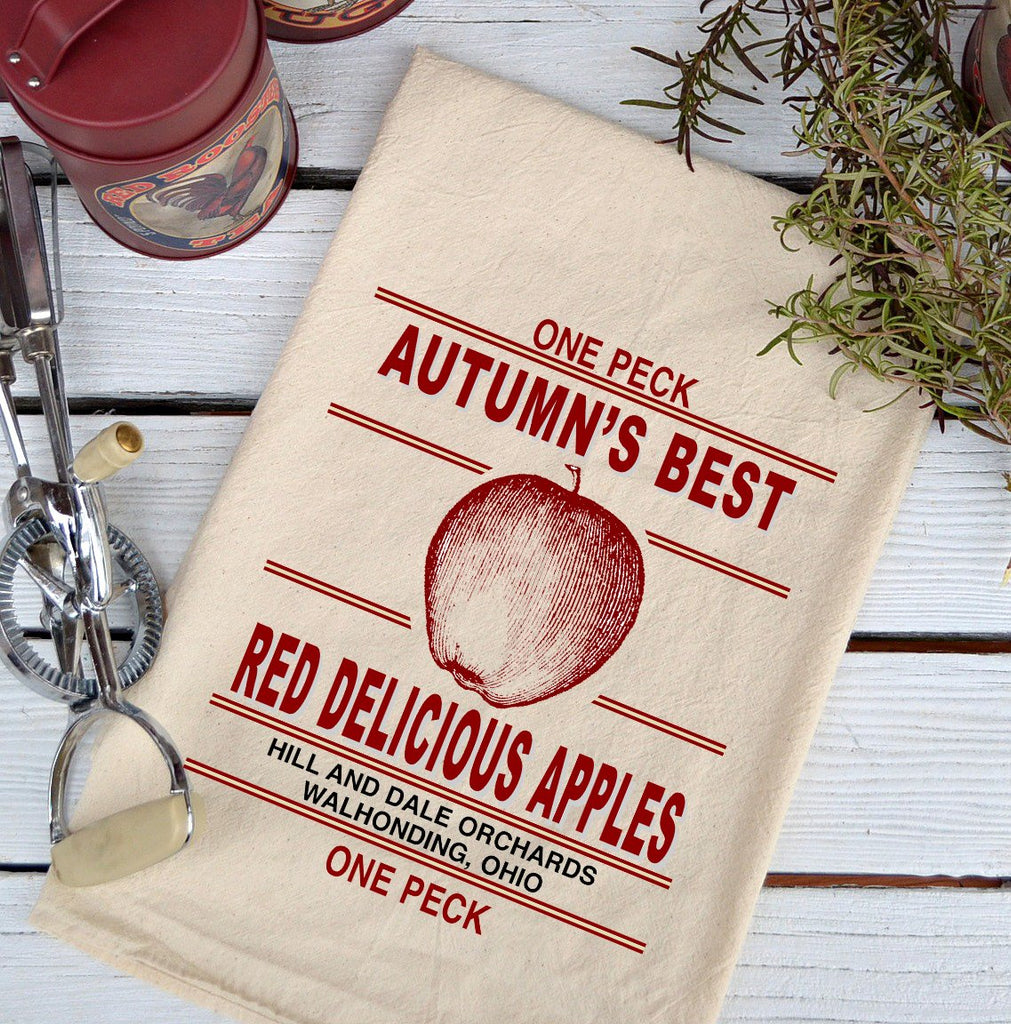 Farmhouse Natural Flour Sack Fall Autumn's Best Red Apples Country Kitchen Towel