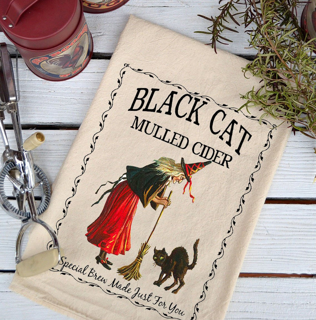 Farmhouse Natural Flour Sack Fall Black Cat Mulled Cider Country Kitchen Towel