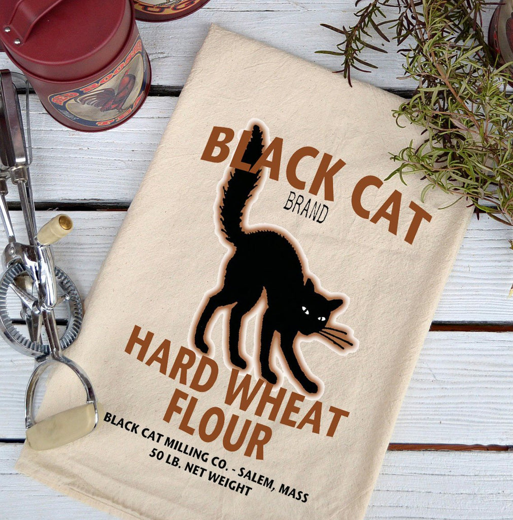 Farmhouse Natural Flour Sack Fall Black Cat Wheat Flour Country Kitchen Towel