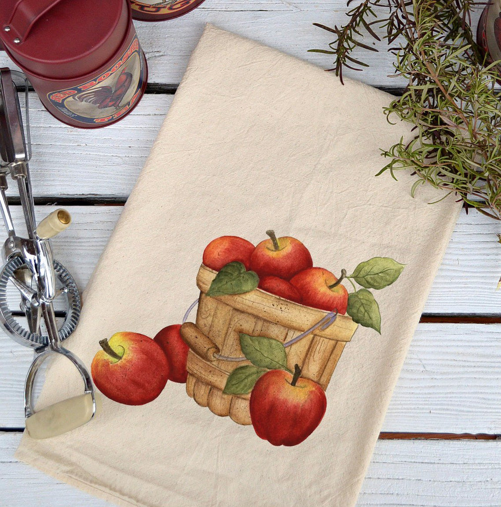 Farmhouse Natural Flour Sack Fall Bushel of Apples Country Kitchen Towel