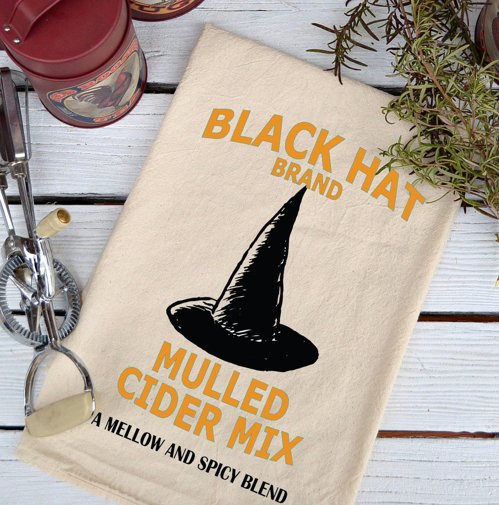 Farmhouse Natural Flour Sack Fall Black Hat Cider Mix Country Kitchen Towel