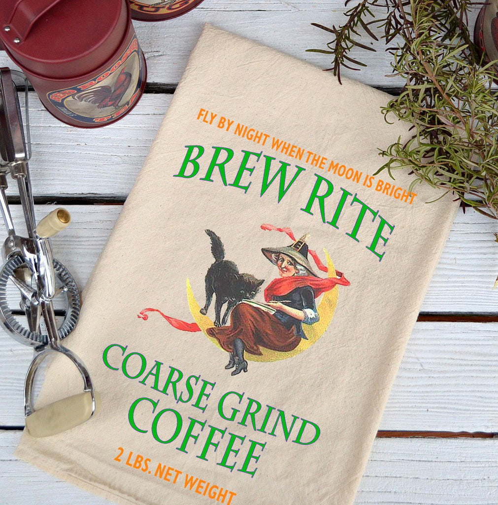 Farmhouse Natural Flour Sack Fall Brew Rite Course Grind Coffee Country Kitchen Towel