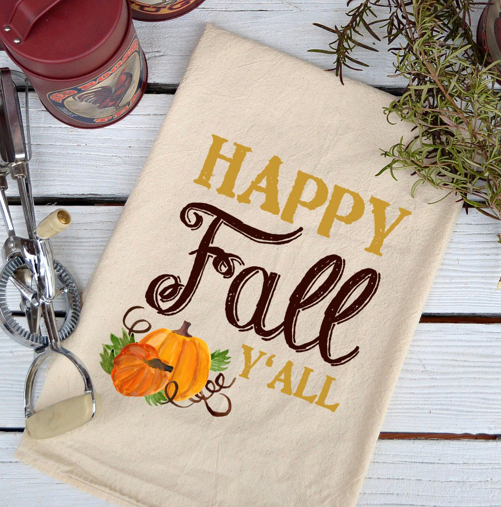 Farmhouse Natural Flour Sack Fall Happy Fall Y'all Country Kitchen Towel