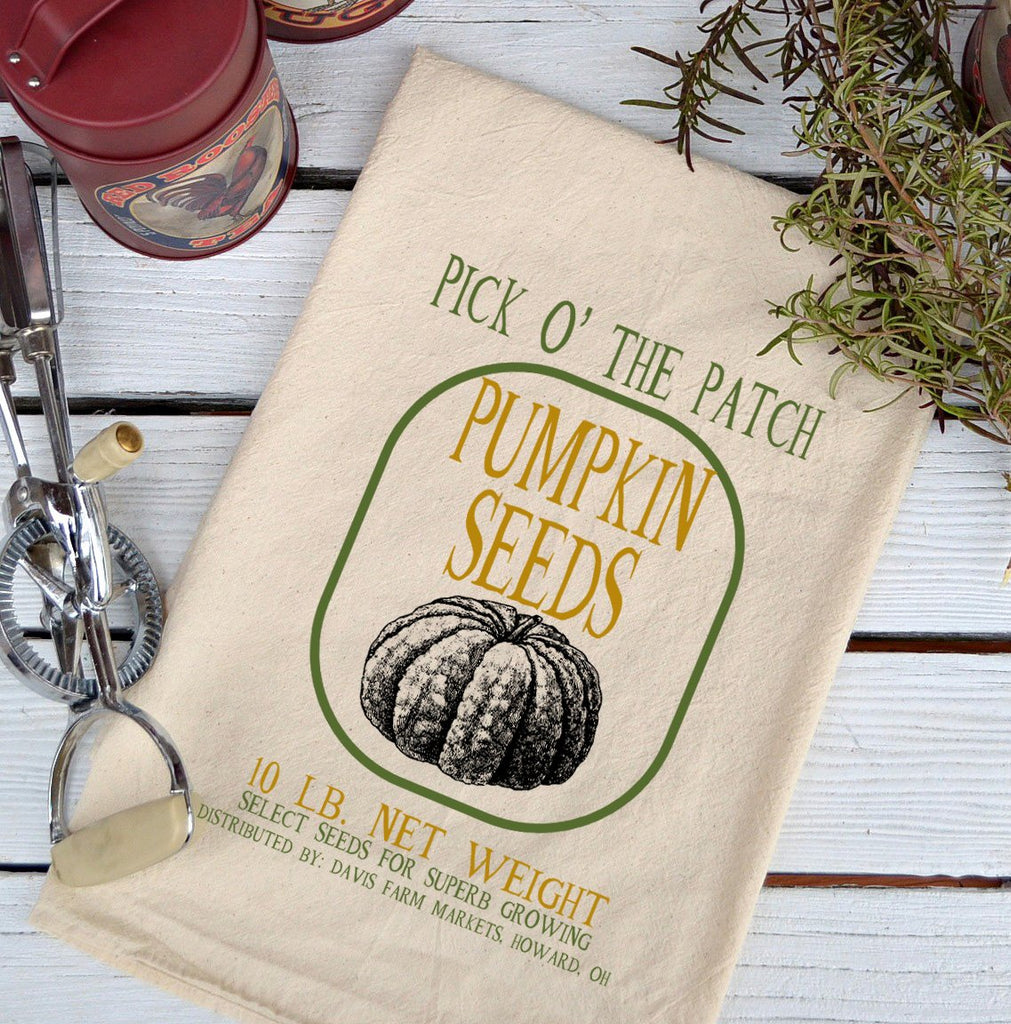 Farmhouse Natural Flour Sack Fall Pick 0 the Patch Pumpkin Seeds Country Kitchen Towel