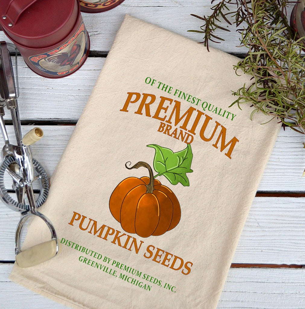 Farmhouse Natural Flour Sack Fall Premium Pumpkin Seeds Country Kitchen Towel