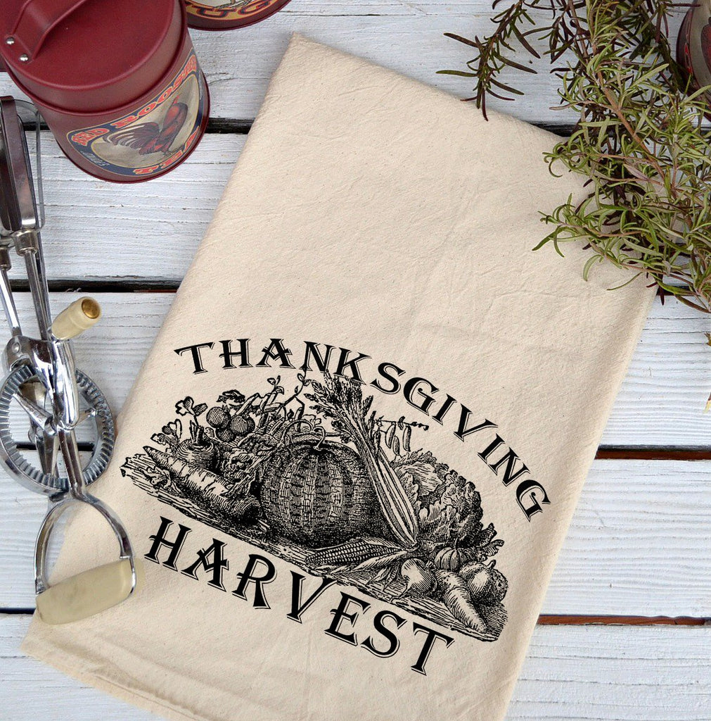 Farmhouse Natural Flour Sack Fall Thanksgiving Harvest Country Kitchen Towel