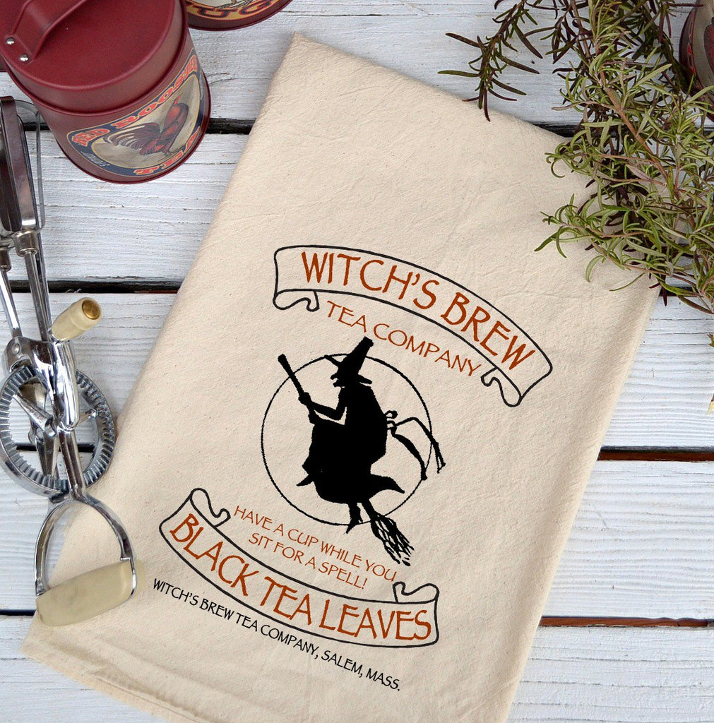 Farmhouse Natural Flour Sack Fall Witches Brew Black Tea Leaves Country Kitchen Towel