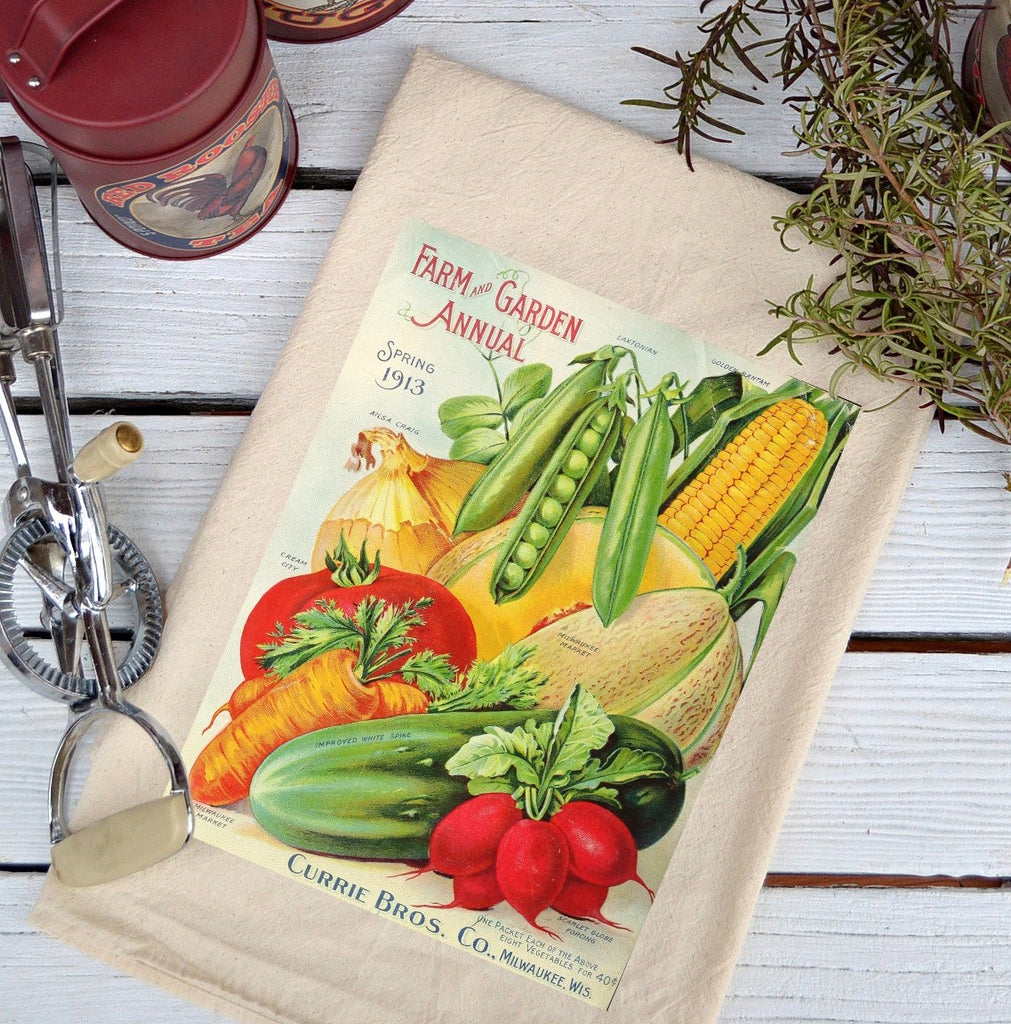 Farmhouse Natural Flour Sack Farm and Garden Annual Seeds Country Kitchen Towel
