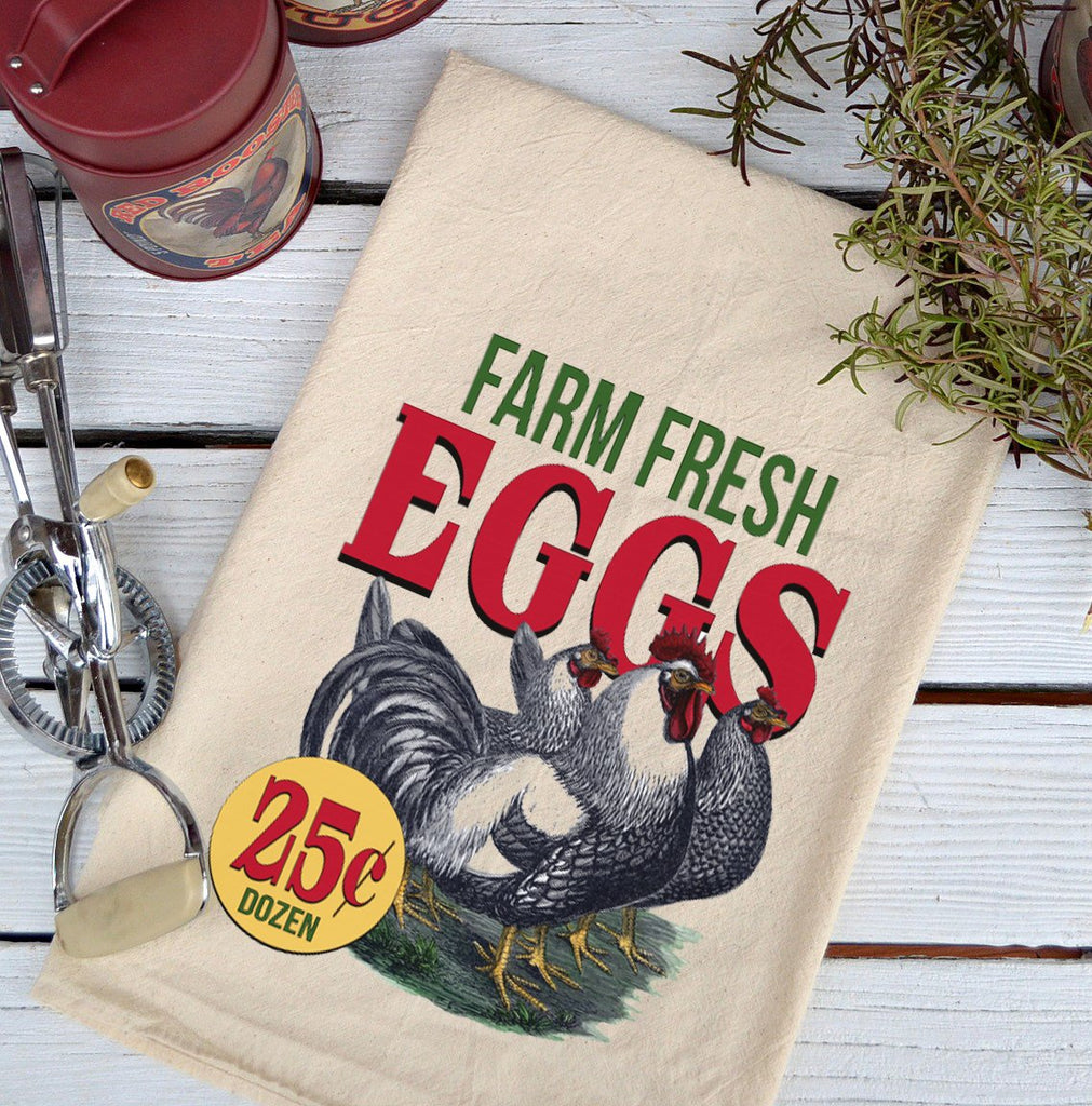 Farmhouse Natural Flour Sack Farm Fresh Eggs 25 Cents Country Kitchen Towel
