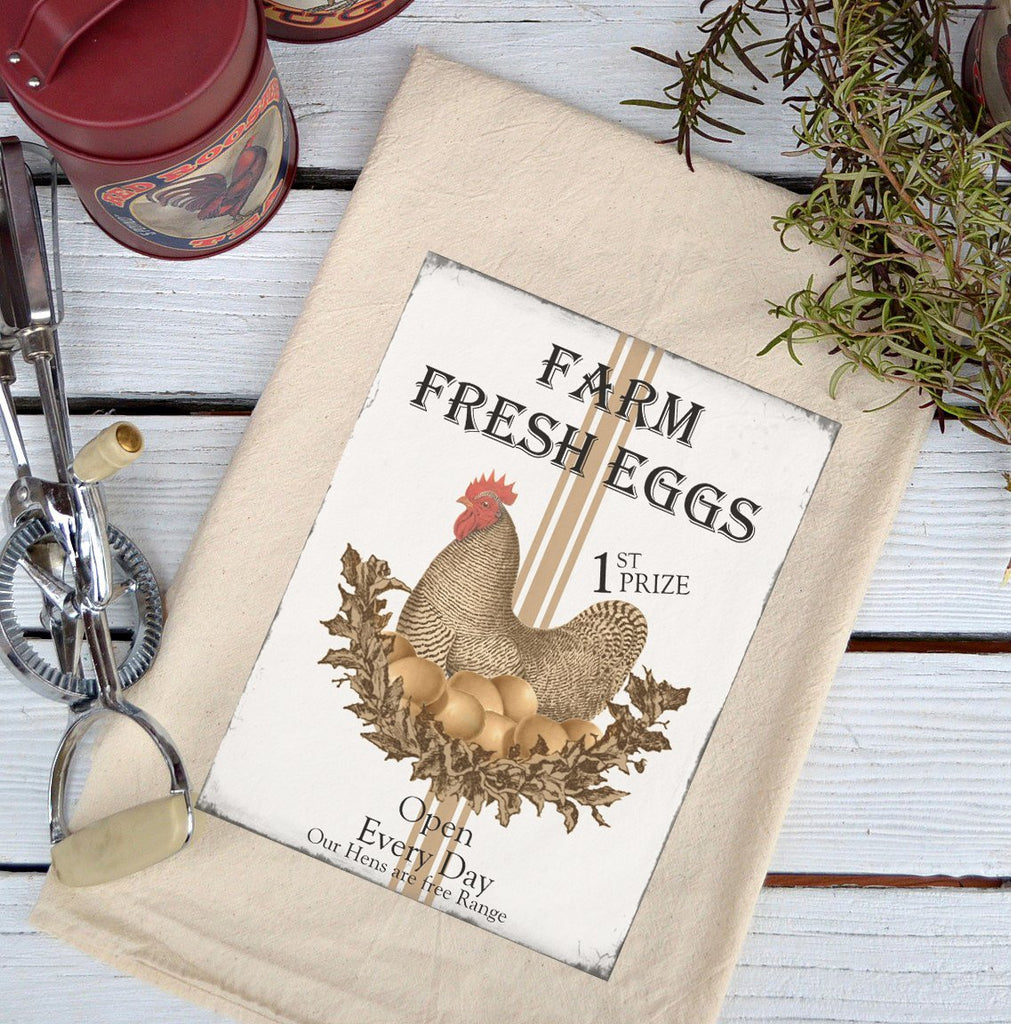 Farmhouse Natural Flour Sack Farm Fresh Eggs Brown Hen Country Kitchen Towel