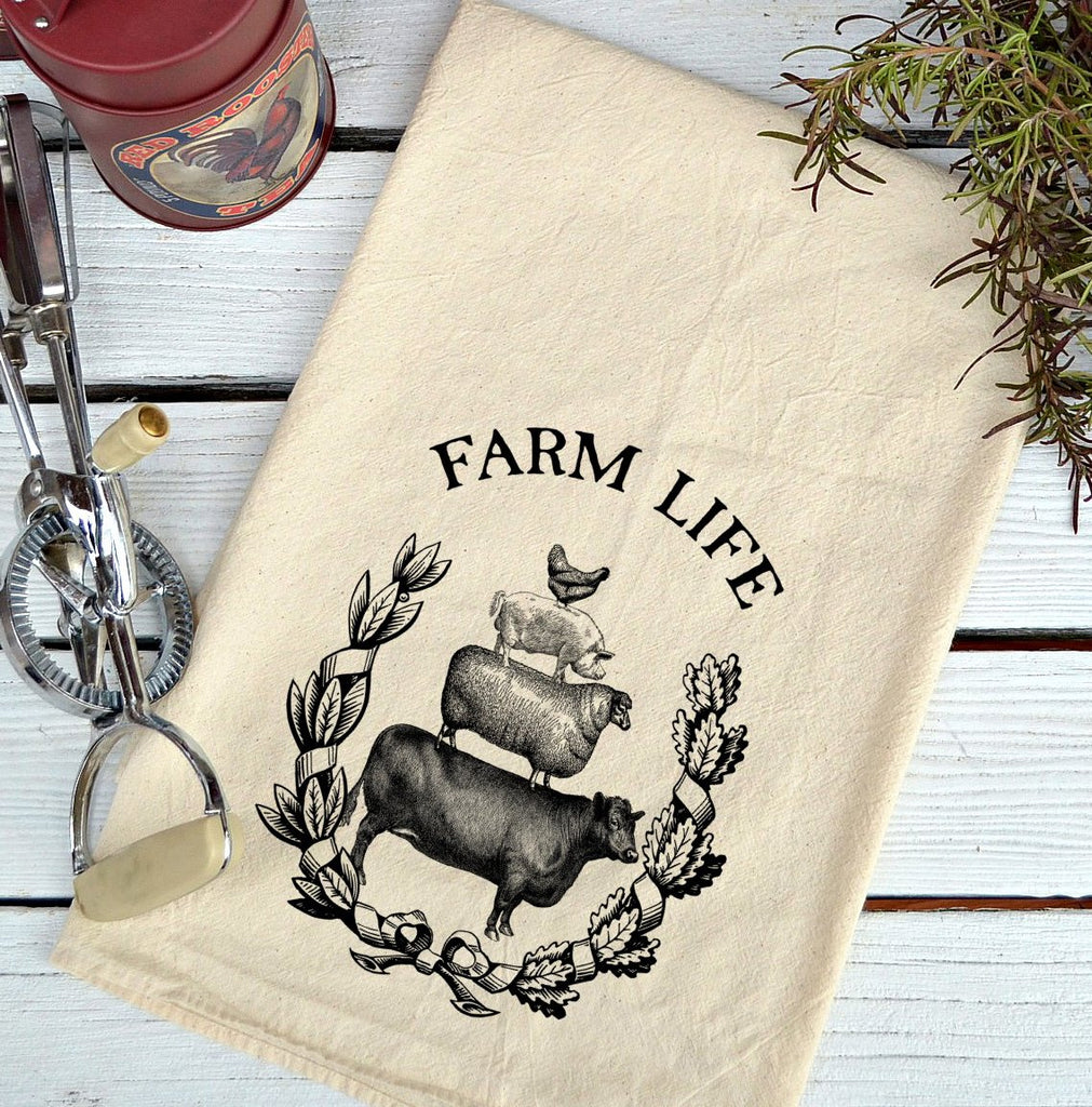 Farmhouse Natural Flour Sack Farm Life Country Kitchen Towel