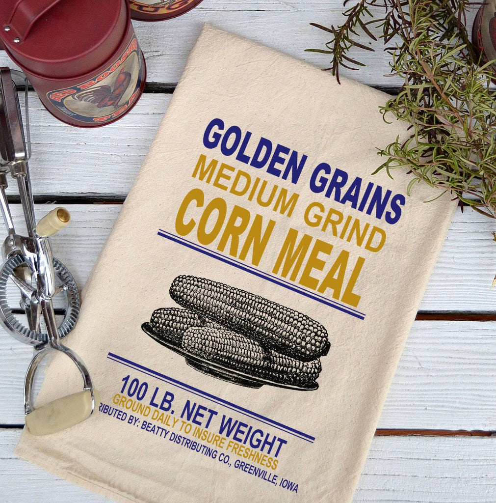 Farmhouse Natural Flour Sack Golden Grains Corn Meal Country Kitchen Towel