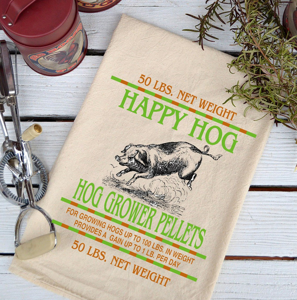 Farmhouse Natural Flour Sack Happy Hog Feed Country Kitchen Towel