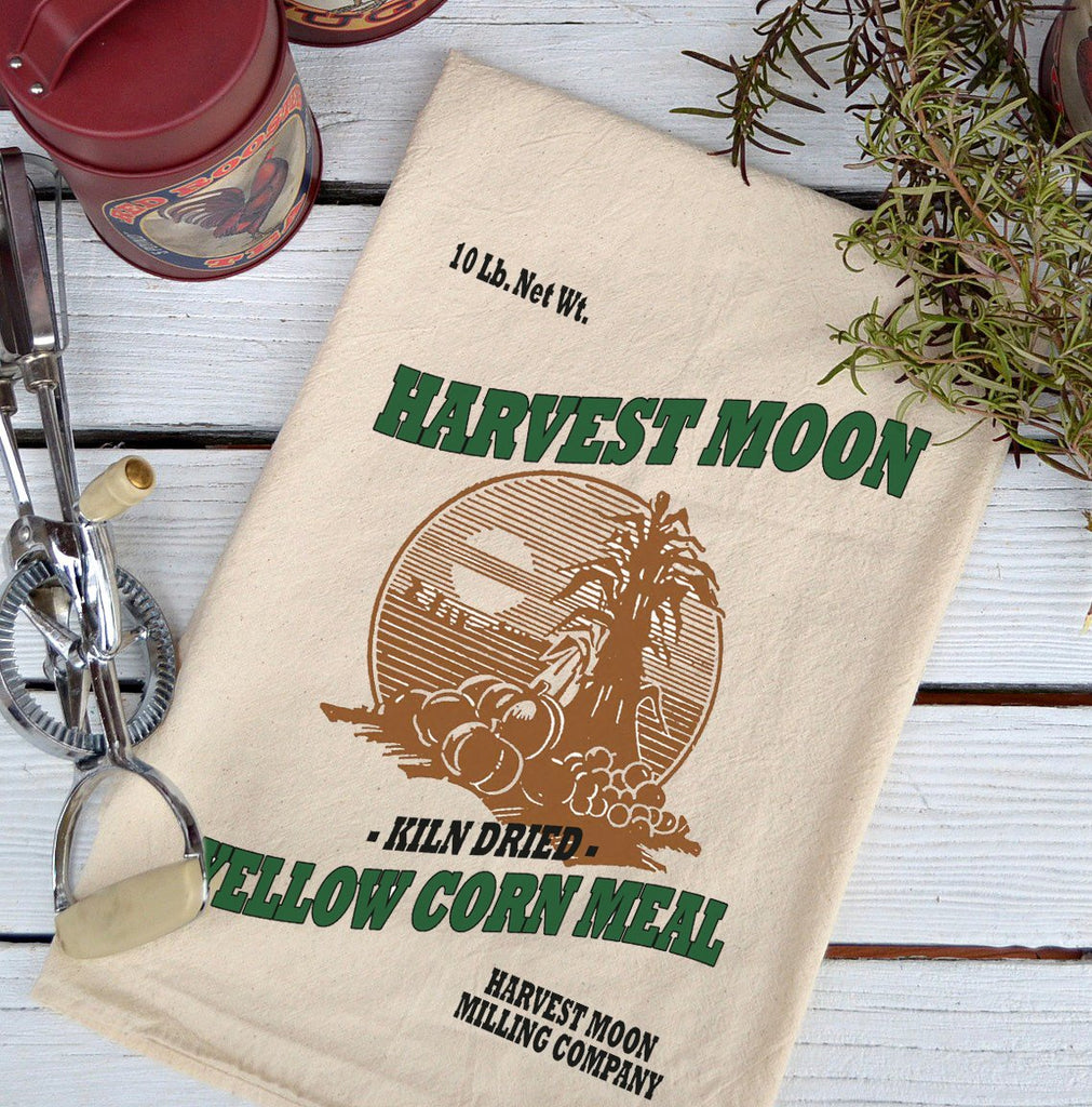 Farmhouse Natural Flour Sack Harvest Moon Corn Meal Country Kitchen Towel