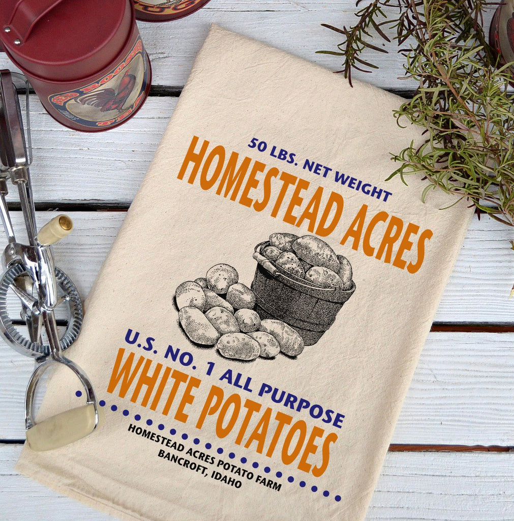 Farmhouse Natural Flour Sack Homestead Acres White Potatoes Country Kitchen Towel