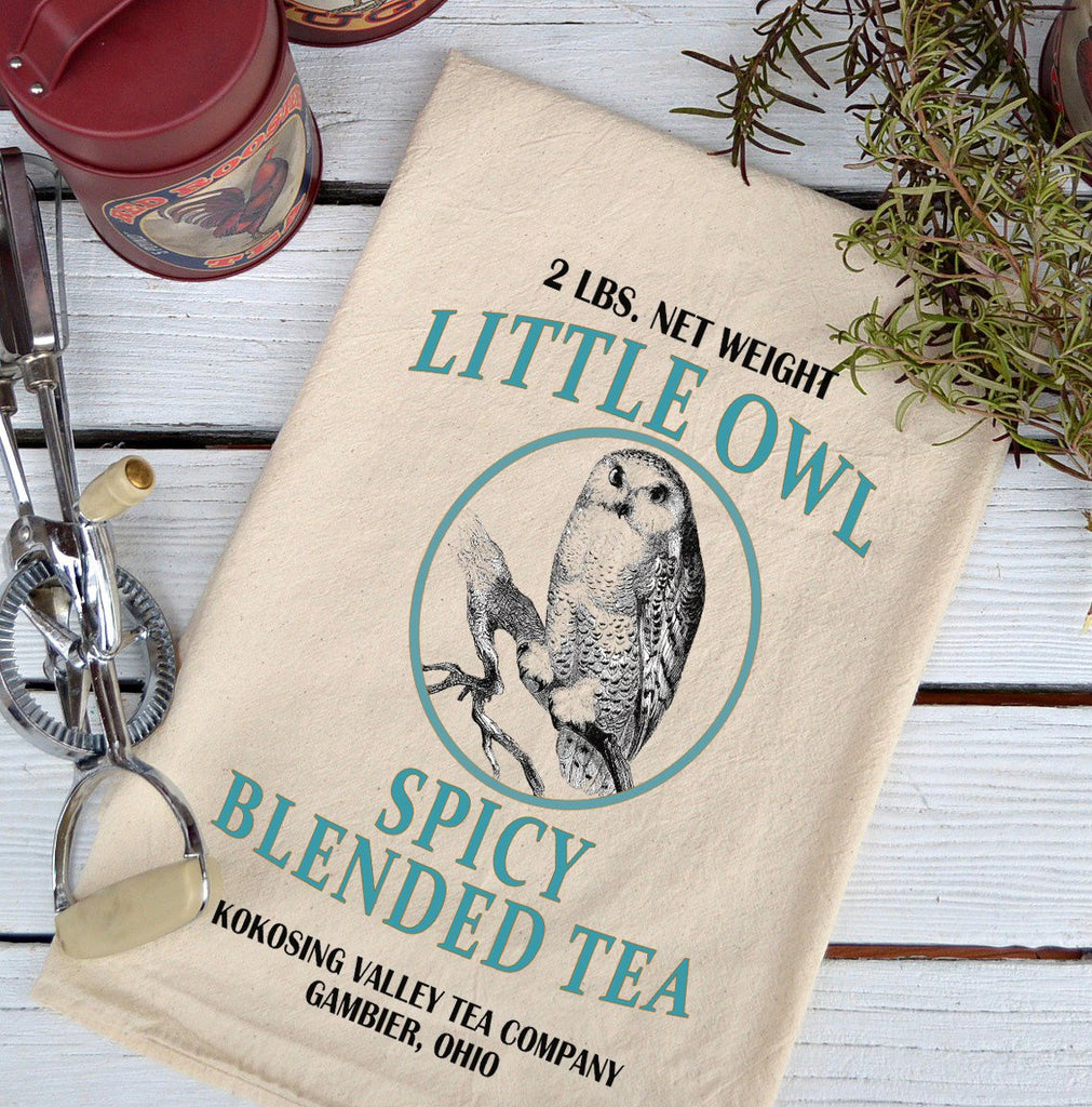 Farmhouse Natural Flour Sack Little Owl Spicy Blended Tea Country Kitchen Towel