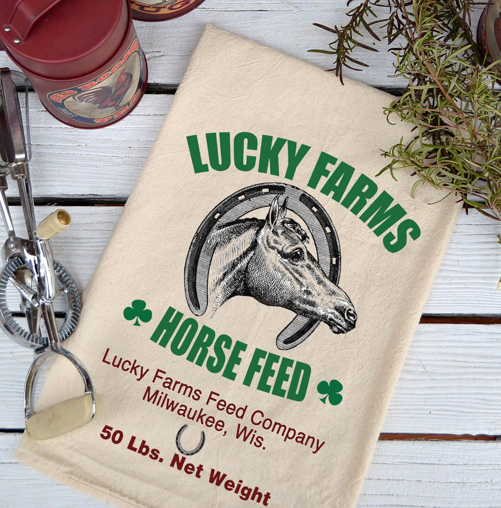 Farmhouse Natural Flour Sack Lucky Farms Horse Feed Country Kitchen Towel