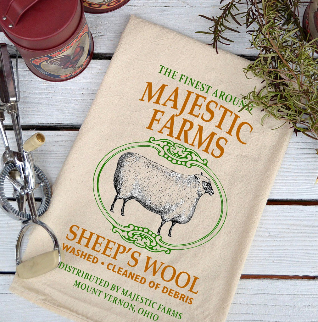 Farmhouse Natural Flour Sack Majestic Farms Sheep's Wool Country Kitchen Towel