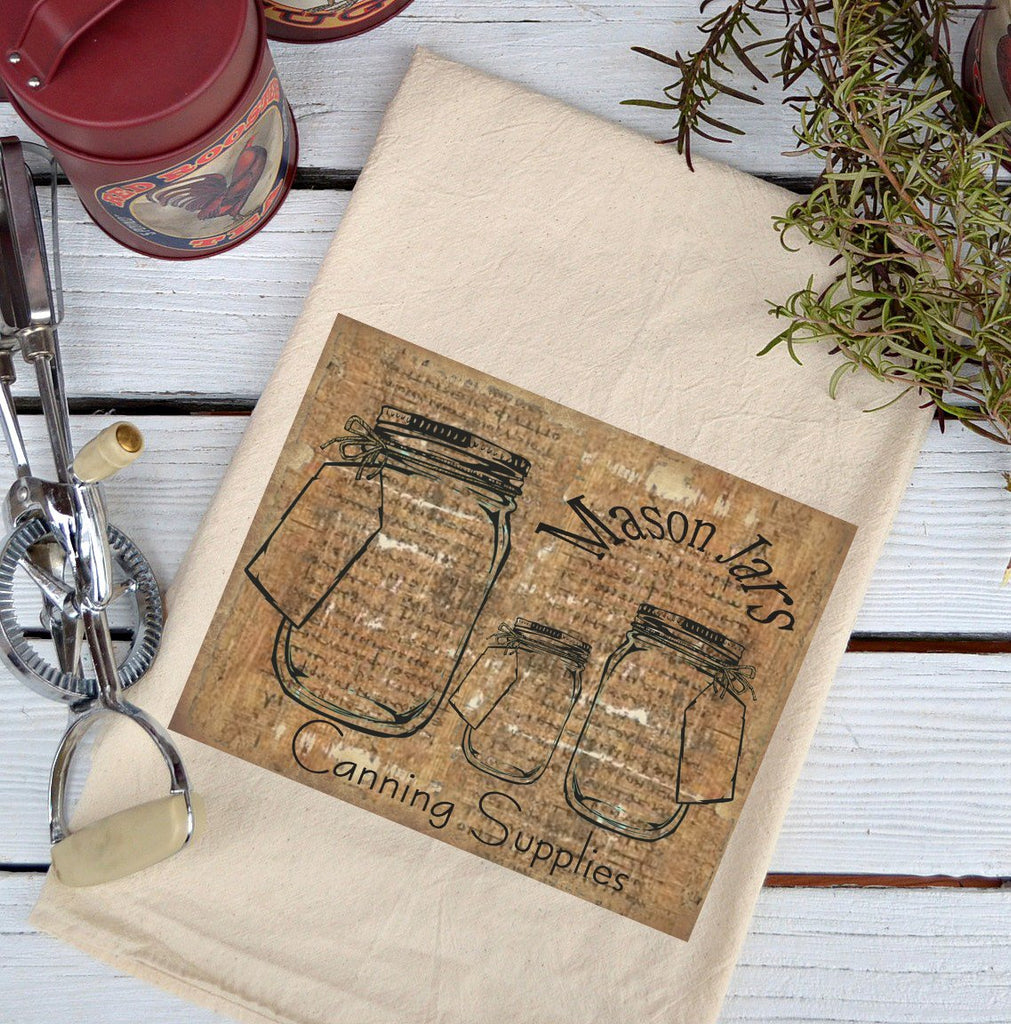 Farmhouse Natural Flour Sack Mason Jars Canning Supplies Country Kitchen Towel