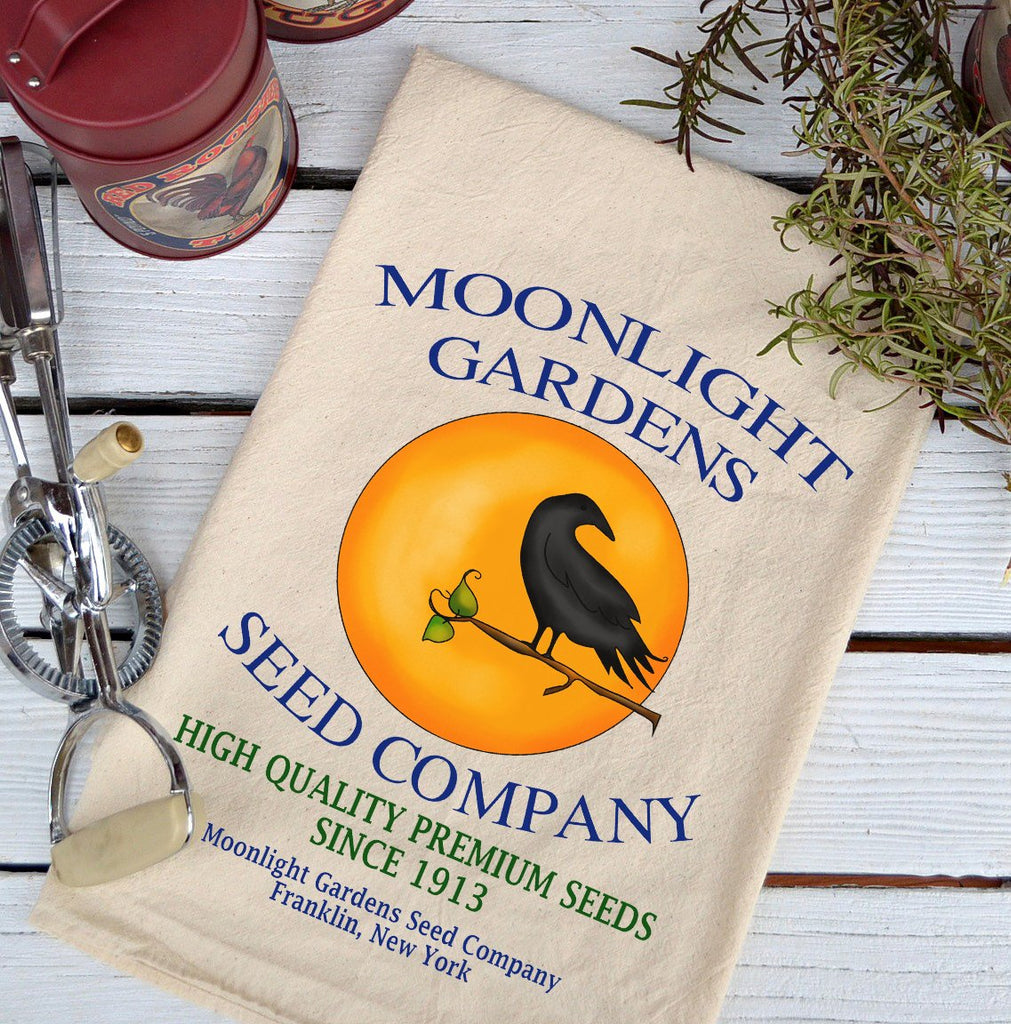 Farmhouse Natural Flour Sack Moonlight Garden Seeds Country Kitchen Towel