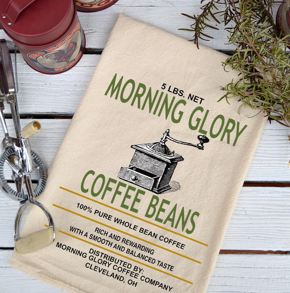Farmhouse Natural Flour Sack Morning Glory Coffee Beans Country Kitchen Towel