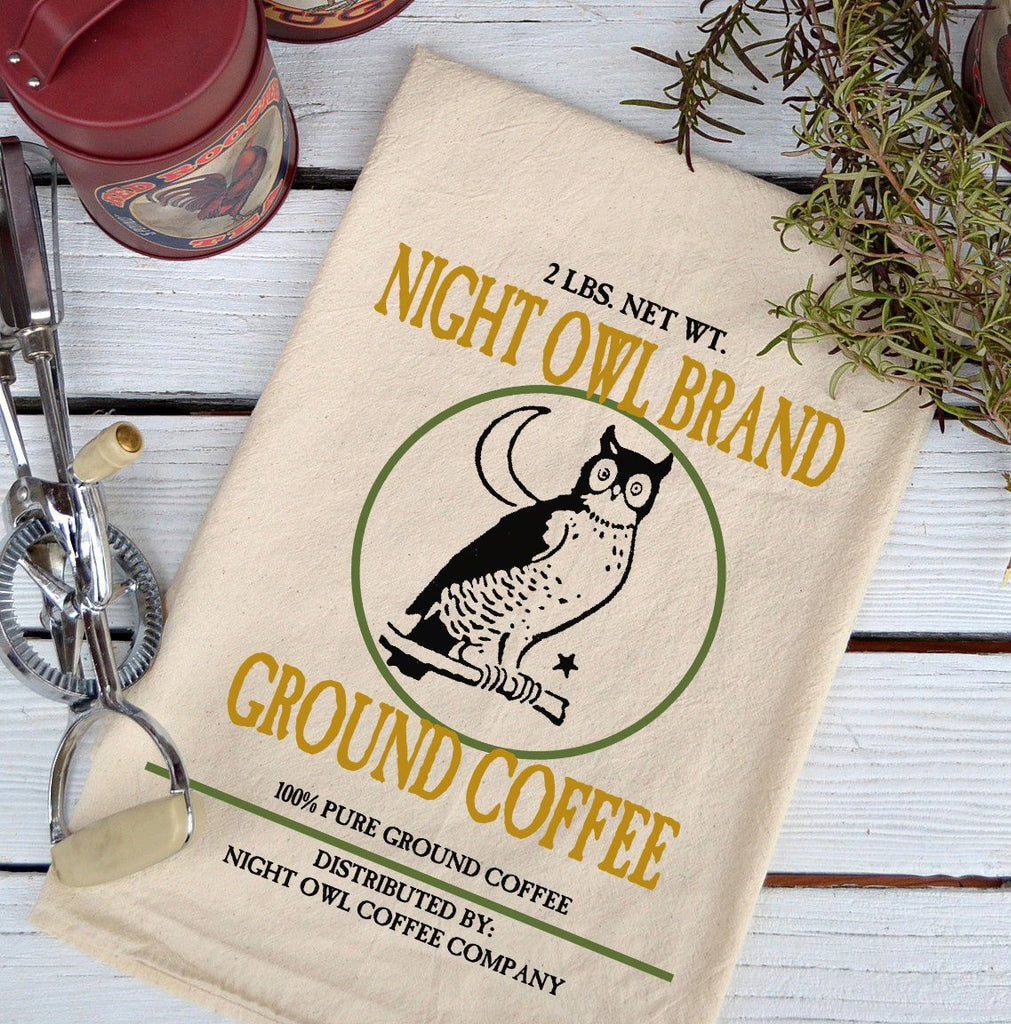 Farmhouse Natural Flour Sack Night Owl Brand Coffee Country Kitchen Towel