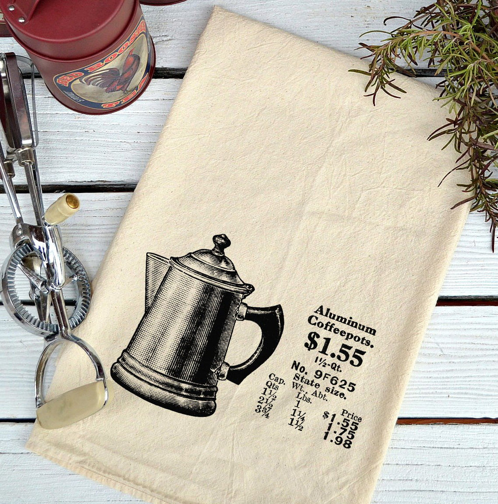 Farmhouse Natural Flour Sack Old Coffee Pot Country Kitchen Towel