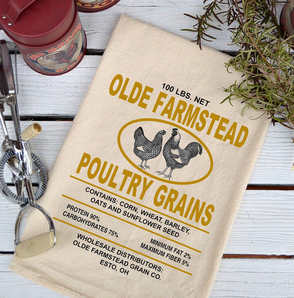 Farmhouse Natural Flour Sack Olde Farmstead Poultry Country Kitchen Towel