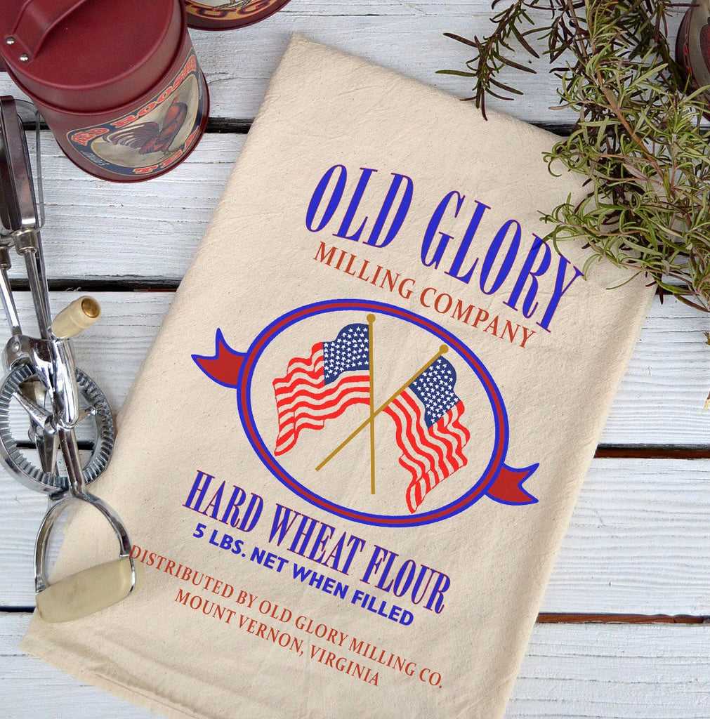 Farmhouse Natural Flour Sack Old Glory Wheat Flour Country Kitchen Towel