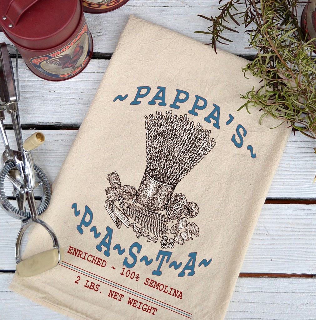 Farmhouse Natural Flour Sack Pappa's Pasta Country Kitchen Towel