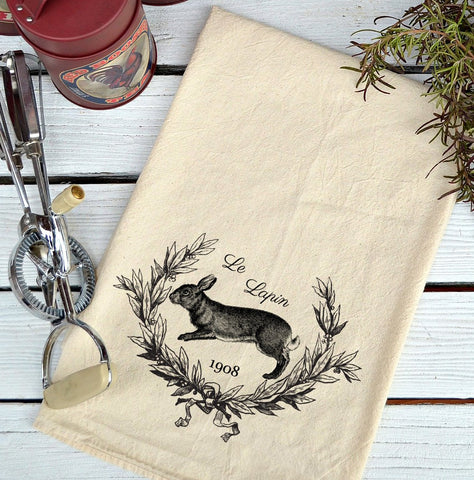 Farmhouse Natural Flour Sack Rabbit Wreath Le Lapin Country Kitchen Towel