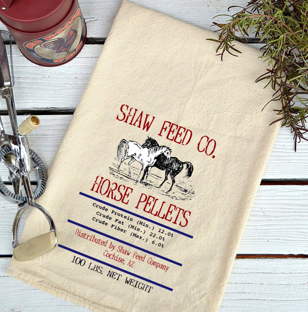 Farmhouse Natural Flour Sack Shaw Feed Co. Horse Pellets Country Kitchen Towel