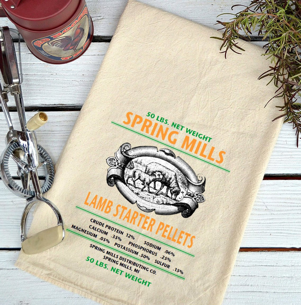 Farmhouse Natural Flour Sack Spring Mills Lamb and Started Pellets Country Kitchen Towel