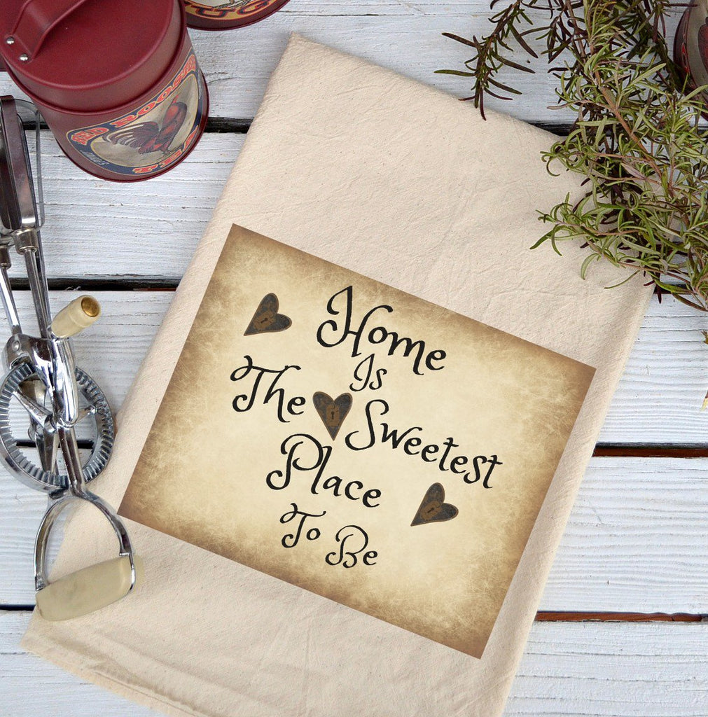 Farmhouse Natural Flour Sack Home is the Sweetest Place Country Kitchen Towel