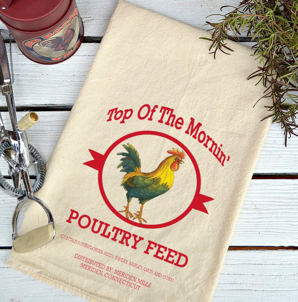 Farmhouse Natural Flour Sack Top 0 the Morning Poultry Feed Country Kitchen Towel